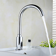 Brass Automatic Sensor Chrome Finish Bathroom Sink Faucet - Silver (4 x AA / AC 110V)