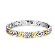 Dámské Řetězové & Ploché Náramky Titanová ocel imitace Diamond Módní Flower Shape Stříbrná Šperky 1ks