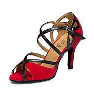 Obyčejné-Dámské-Taneční boty-Latina Taneční tenisky Moderní-Koženka-Kačenka-Černá Červená