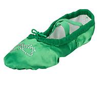 Na míru-Dětské-Taneční boty-Balet-Satén-Rovná podrážka-Zelená Fuchsiová