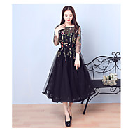 Cocktail Party Dress A-line Jewel Tea-length Tulle with Embroidery