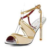 Feminino-Sandálias-Inovador Sapatos clube-Salto Agulha-Preto Azul Roxo Vermelho Dourado-Gliter Materiais Customizados-Casamento