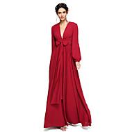 LAN TING BRIDE Floor-length V-neck Bridesmaid Dress - Elegant Open Back Long Sleeve Chiffon