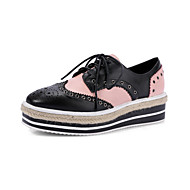 Sneakers Spring Summer Fall Winter Mary Jane Light Soles Cowhide Outdoor Dress Casual Flat Heel Creepers Split Joint Lace-up Pink White
