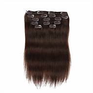 7 szt / zestaw # 4 średni brąz Chocalate brązowy klip włosów przedłużających 14inch 18inch 100% ludzkich włosów