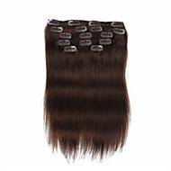 7 adet / saç uzatma yer 4. orta kahverengi chocalate kahverengi klip% 100 insan saçı 18inch 14 inç