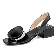 샌들-드레스-여성-커플 신발-레더렛-청키 굽