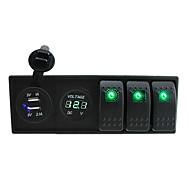 DC 12V / 24V LED-es digitális 3.1a kettős USB töltő voltmérő aljzat rocker kapcsolók jumper vezetékek és a ház tulajdonosa