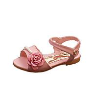 PU-Flat hæl-Komfort-Sandaler-Fritid-Rosa Hvit