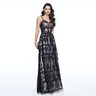 TS Couture® Evento Formal Vestido - Costas Lindas Estilo Celebridade Tubinho Com Alças Finas Longo Tule com Miçangas Renda Pregas