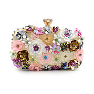 L.west Women Elegant High-grade Diamonds Flower Pearl Evening Bag