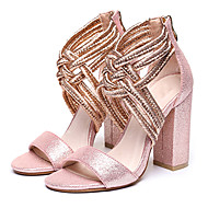 Women's Sandals Summer Other Glitter Party & Evening Dress Casual Chunky Heel Braided Strap Zipper Black Silver Gold Light Pink