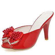 Tacón Stiletto-Zapatos del club Talón Descubierto-Sandalias-Boda Vestido Fiesta y Noche-Cuero Patentado-Negro Rosa Rojo Blanco