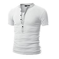 Herren Solide Einfach Lässig/Alltäglich T-shirt,Rundhalsausschnitt Frühling Herbst Langarm Weiß Schwarz Grau Grün Baumwolle Mittel