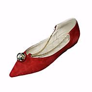 Черный Красный-Женский-Для прогулок-ПолиуретанУдобная обувь-На плокой подошве