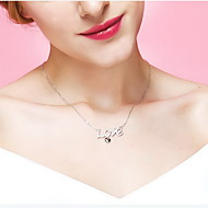 Pendant Necklaces Crystal Sterling Silver Zircon Cubic Zirconia Heart Basic Dangling Style Simple Style Fashion Gold Silver JewelryDaily