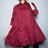 Feminino Camisa Social Tamanhos Grandes Casual Trabalho Vintage Simples Temática Asiática Todas as Estações Verão,Sólido Vermelho Preto