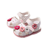 Girl's Sandals Spring Summer Fall Comfort PU Outdoor Casual Flat Heel Applique Blue Pink White