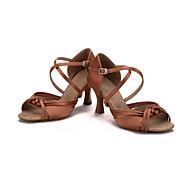 Obyčejné-Dámské-Taneční boty-Latina-Satén-Rozšiřující se-Černá Modrá Hnědá Fialová Červená Tmavě hnědá