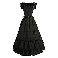 One-Piece/Dress Gothic Lolita Vintage Inspired Cosplay Lolita Dress Black Vintage Sleeveless Floor-length Dress For Women Cotton