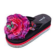 Damen Slippers & Flip-Flops PU Sommer Normal Blume Flacher Absatz Weiß Schwarz Gelb Rot Flach