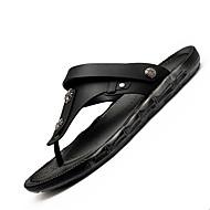 Sandály-Kůže-Pohodlné-Pánské-Černá Hnědá-Běžné-Plochá podrážka