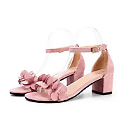Women's Sandals Spring Summer Fall Comfort PU Dress Casual Chunky Heel Applique Black Pink Gray