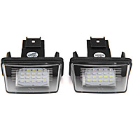 2pcs luz brilhante número de licença levou placa para Peugeot 206 207 306 307 406 407 citroen c3 c3 ii c3