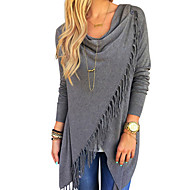 Women's Tassel HOTS-3XL Plus SizeGoing out Casual/Daily Sexy Street chic T-shirtSolid Round Neck Sleeve Blue Pink Purple Cotton