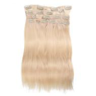 9db / set deluxe 120g klip hajhosszabbítás fehérítő szőke 16inch 20inch 100% egyenes emberi haj a nők