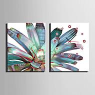E-HOME® Dark Green Plants Clock in Canvas 2pcs