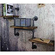 American Pipe Racks Wrought Iron Wall Pipe Retro Backdrop Wood Industry Water Separator Wall Shelves-Z15