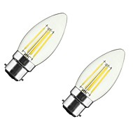 4W B22 E26/E27 フィラメントタイプLED電球 CA35 4 COB 400 lm 温白色 明るさ調整 V 2個