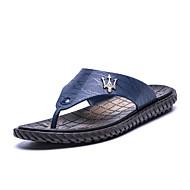 Slippers & Flip-Flops-Outddor Lässig-PU-Flacher Absatz-Komfort Leuchtende Sohlen-Schwarz Blau Braun