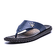 Slippers & Flip-Flops Lente Zomer Herfst Comfortabel Lichtzolen PU Buiten Casual Platte hak Zwart Blauw Bruin Wandelen