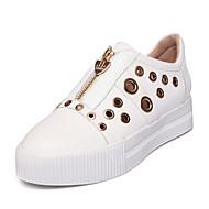 Sneakers-LæderDamer-Hvid Sort-Kontor Formelt Fritid-Platå
