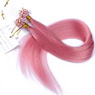 10a meilleures extensions de cheveux anneau cheveux de qualité micro boucle couleur rose cheveux vierge 100g droite vierge cheveux