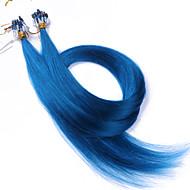 Βαθμός 10α μικρο βρόχο χάντρες δαχτυλίδι μαλλιά επεκτάσεις μπλε χρώμα μεταξένια ίσια 100grams βραζιλιάνα παρθένα ανθρώπινα μαλλιά