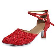 Sapatos de Dança(Preto Azul Vermelho Prateado Dourado) -Feminino-Personalizável-Latina
