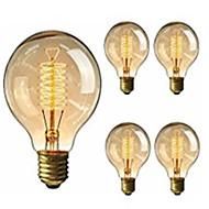 5pcs G95 antigo retro lâmpadas de Edison do vintage E27 lâmpadas incandescentes 40W decorativo lâmpada de filamento 220-240V luz edison
