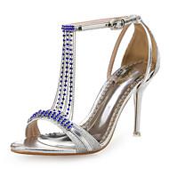 Damen-Sandalen-Hochzeit Kleid Party & Festivität-Kunststoff Glanz-Stöckelabsatz-Club-Schuhe-Blau Rot Silber Gold