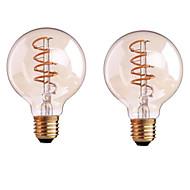 4W B22 E26/E27 フィラメントタイプLED電球 G80 1 COB 400 lm 温白色 明るさ調整 交流220から240 AC 110-130 V 2個