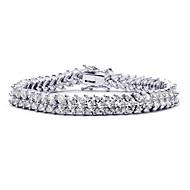 Dámské Řetězové & Ploché Náramky Křišťál Křišťál Zirkon Slitina příroda Módní Round Shape Stříbrná Šperky 1ks