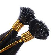 extensões de cabelo humano u ponta extensões de cabelo humano real queratina 100 fios de cores # 1B Remy extensões de fusão cabelo humano