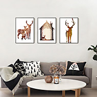 3D Framed Art Print Framed Canvas Framed Set Wall Art Brown Mat Included With Frame Abstract Hand-painted Cartoon Elk L(53cm*73cm) XL(63cm*83cm)