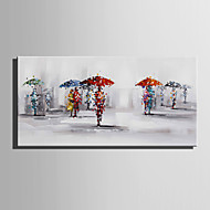 מצויר ביד L ו-scape אנשים מאוזן,מודרני סגנון ארופאי פנל אחד בד ציור שמן צבוע-Hang For קישוט הבית
