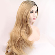 Sylvia Synthetic Lace front Wig Black Roots Blonde Hair Ombre Hair Heat Resistant Long Natural Wave Synthetic Wigs