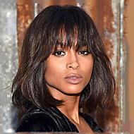 divatos természetes egyenes középbarna tanksapka nélküli emberi haj paróka bob frizura a nők számára 2017