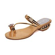 Γυναικείο Παπούτσια PU Άνοιξη Καλοκαίρι Ανατομικό Σανδάλια Χαμηλό Τακούνι Ανοικτή μύτη Για Causal Φόρεμα Χρυσό Ασημί