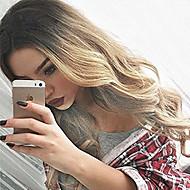 여성 금발의 긴 가발 내성 뜨거운 판매 섹시한 물결 모양의 합성 가짜 머리 가발을 가열 옹 브르 합성 바디 웨이브 헤어 가발